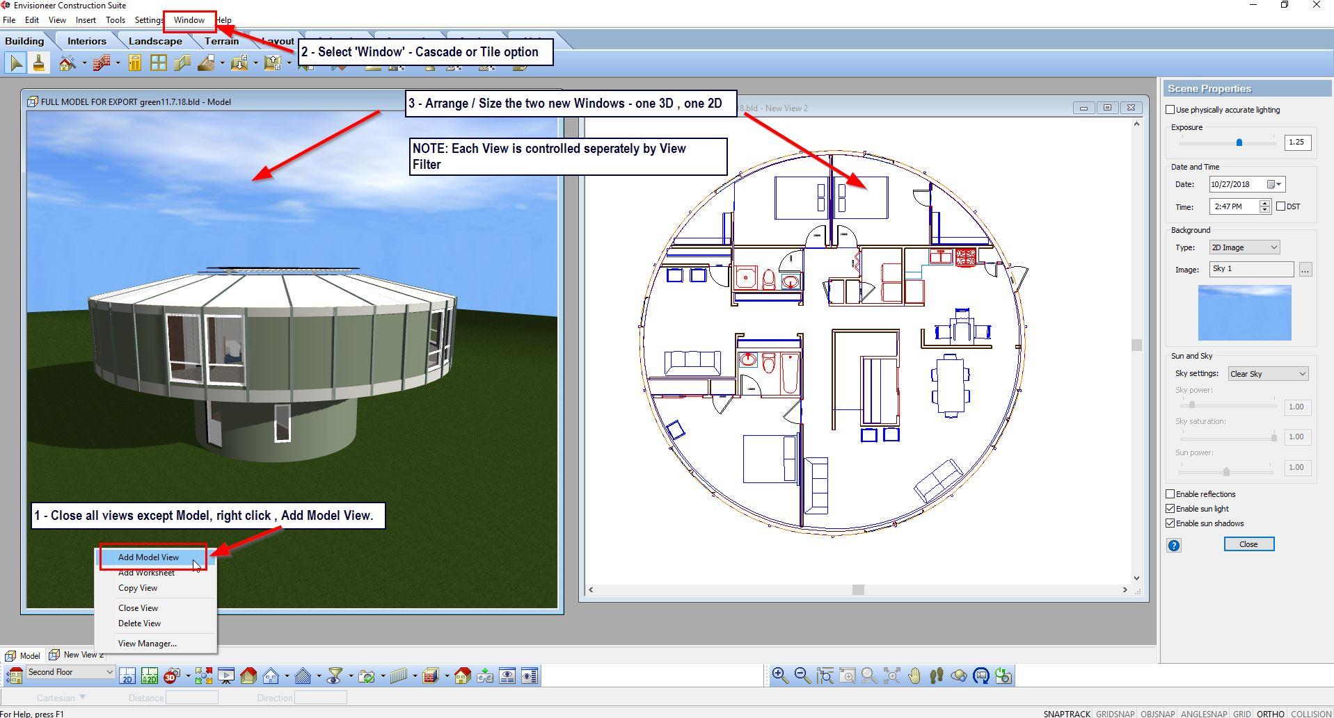 TIP –   2D & 3D Views Open at same time